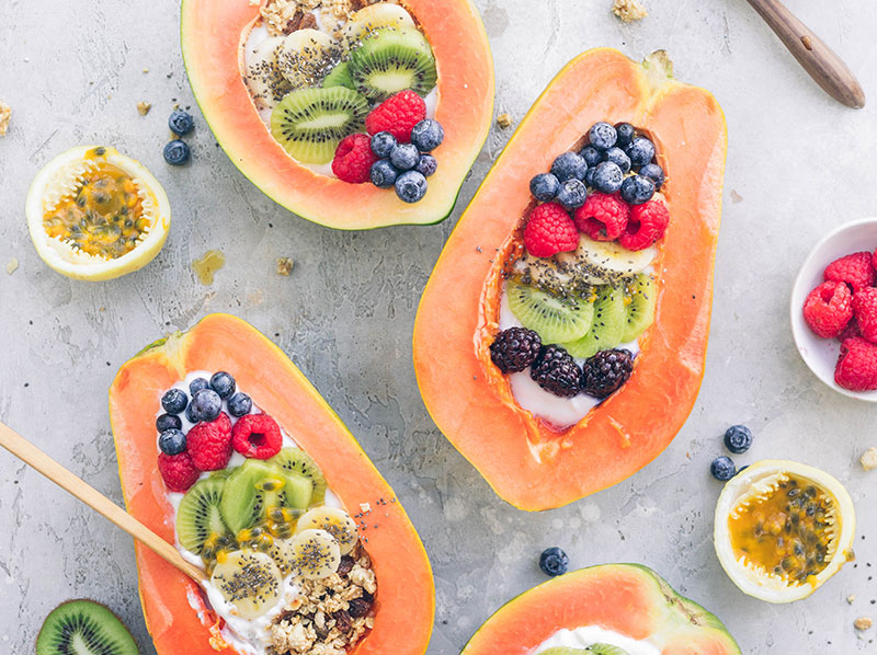 Coconut Yogurt Papaya Boats
