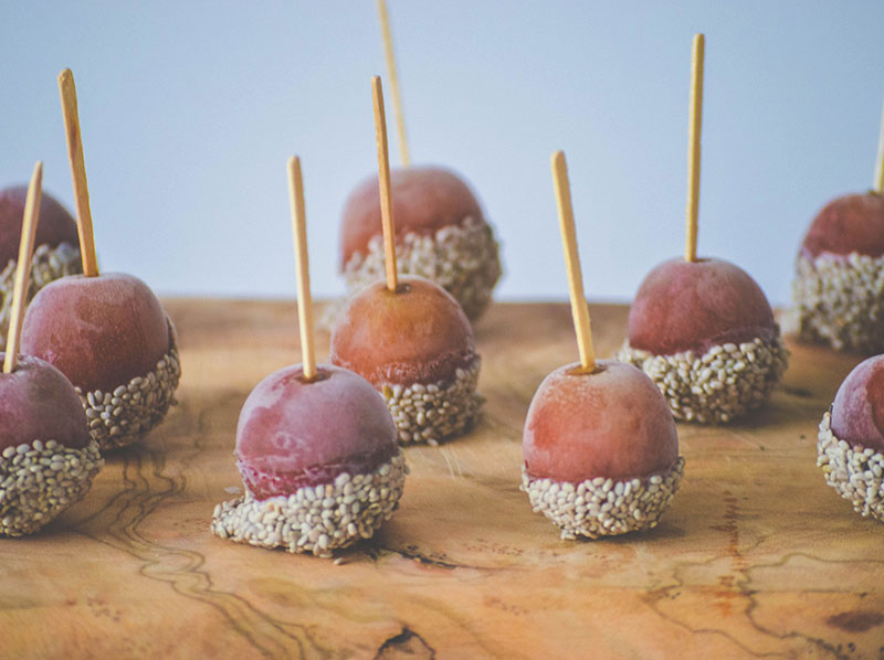 Yogurt and Chia Covered Frozen Grapes
