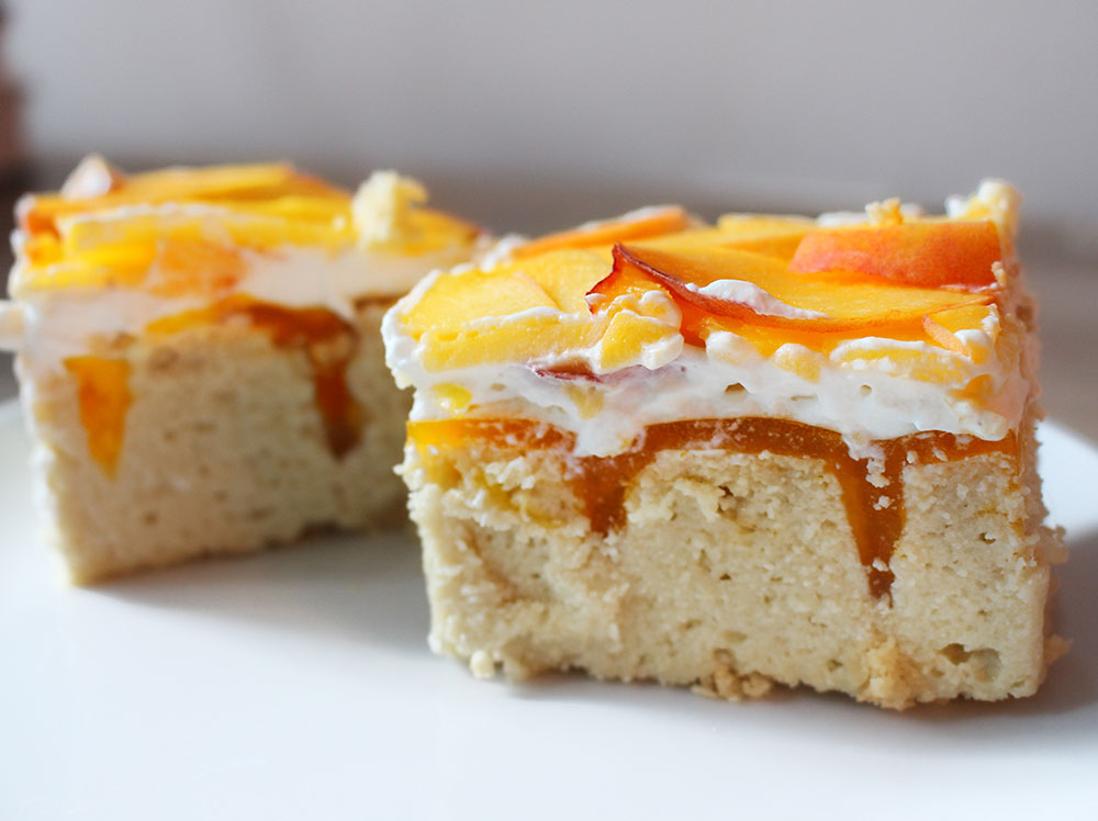 Peaches & Cream Poke Cake
